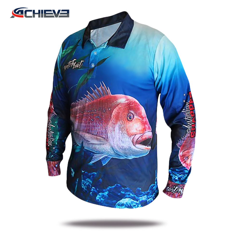 100% Polyester fishing jerseys tournament cheap winter fishing clothing, long sleeve fishing shirts wholesale