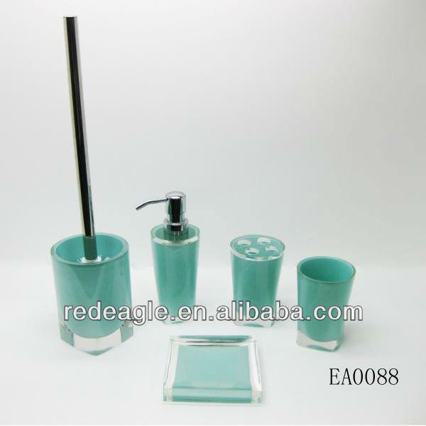 Ea0119 China Wholesale 5pcs Duck Egg Blue Bathroom Accessories