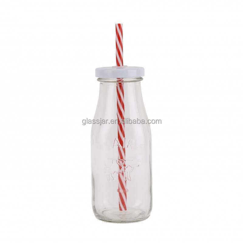 300ml flint glass milk bottle with straw