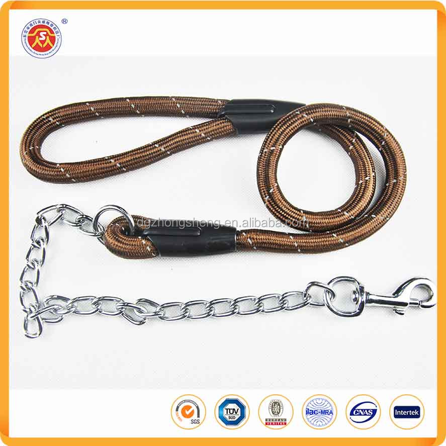 Pet Accessories Metal Chain Dog Leash With Nylon Handle For Big Dog