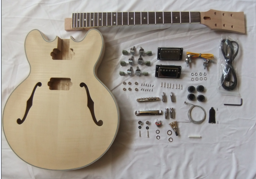 jazz guitar kits high quality DIY guitar 335 DIY unifinished kit F Hole Hollow Electric Guitar Kits
