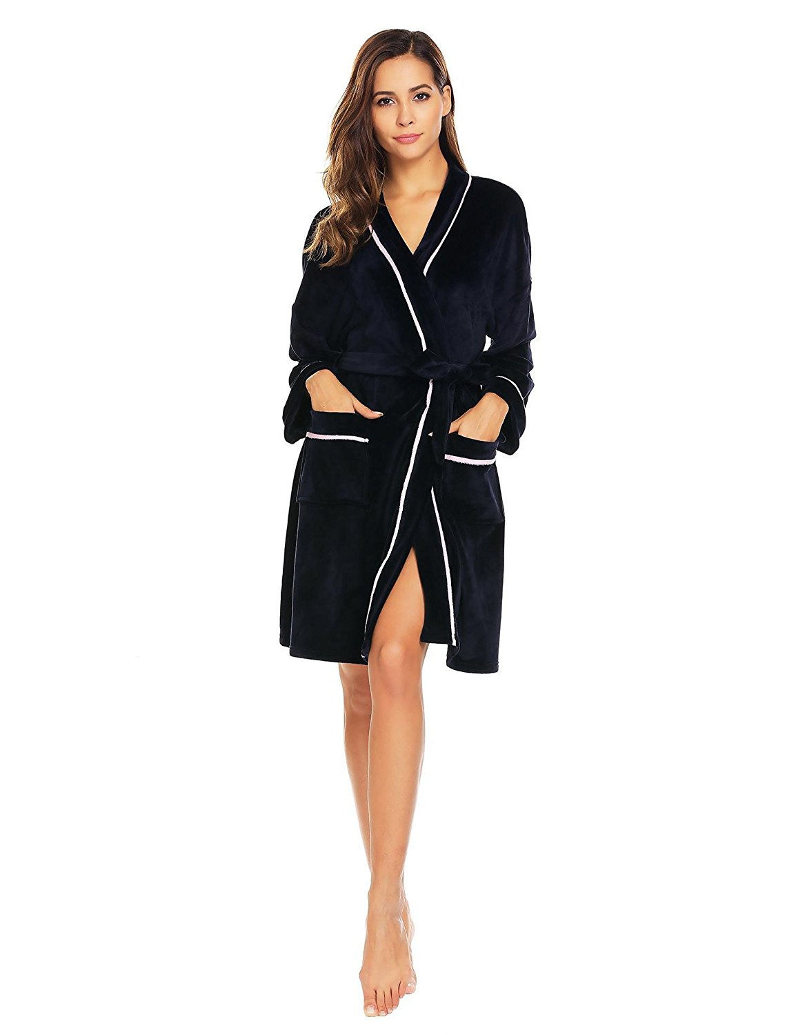 c301a09335 Get Quotations · eshion Womens Kimono Robe Plush Short Long Sleeve Terry  Cloth Robe with Belt and Pockets