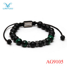 New hot three-colour green tiger eye stone black rope handmade bracelet rose gold high quality macrame bracelet for men