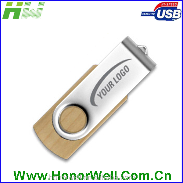 Natural Wooden Maker Wooden With Metal Clip Cheapest Maple Thumb Drive