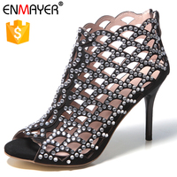 Lady stiletto evening dress shoes shiny crystal rhinestone open toe dress shoes sandals