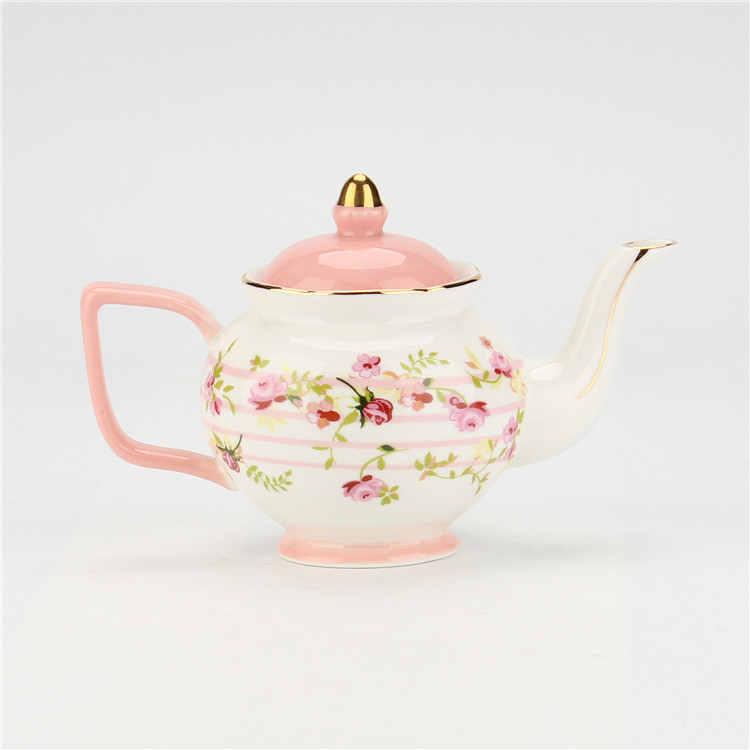 New arrival pink flower exotic russian tea set with one kettle for tea time
