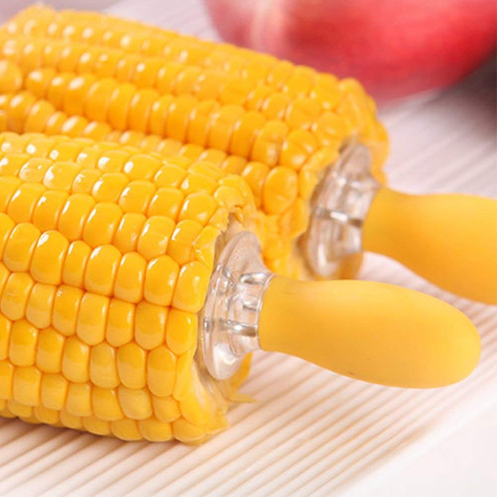 BBQ Corn Holders,SHZONS 30 PCS Interlocking Stainless Steel Corn Forks with Silicone Handle,Portable BBQ Corn Meat Holder High Temperature Resistant Corn Fork