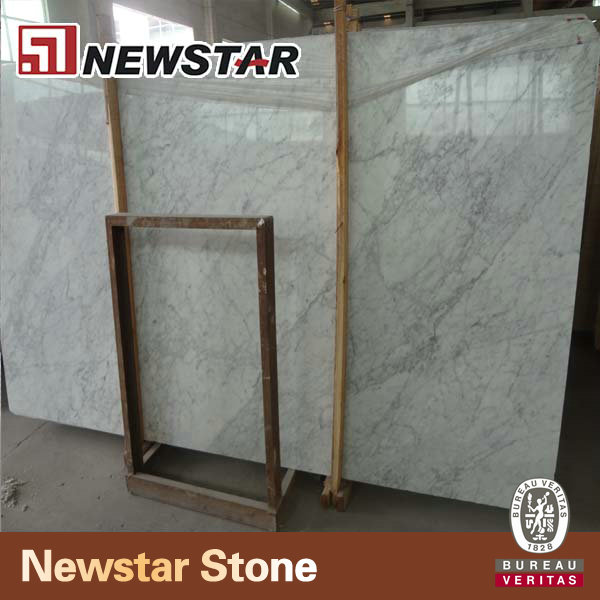 Newstar Italian white carrara marble slabs price for kitchen countertop