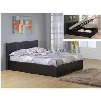 Merveilleux Black 4ft6 Double Storage Ottoman Gas Lift Up Bed Frame