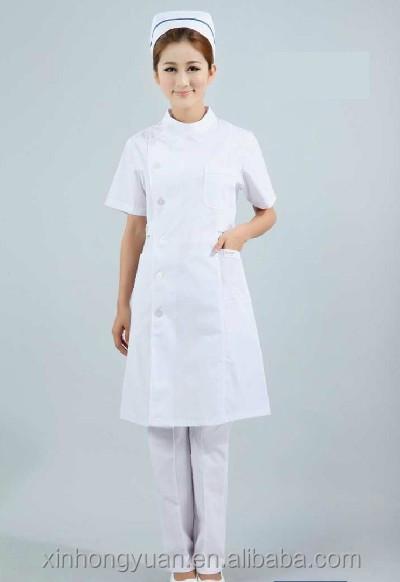 dec538d9231e6 Old design white blank lady nurse uniform sets with functional pockets