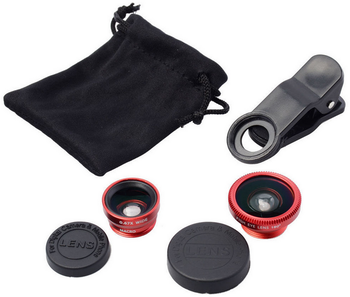 Clip 3-in-1 180 Fish-Eye Lens+Wide Angle Lens+Micro Lens Camera Lens Kits for iPhone, iPad, Samsung and Phones with Fla