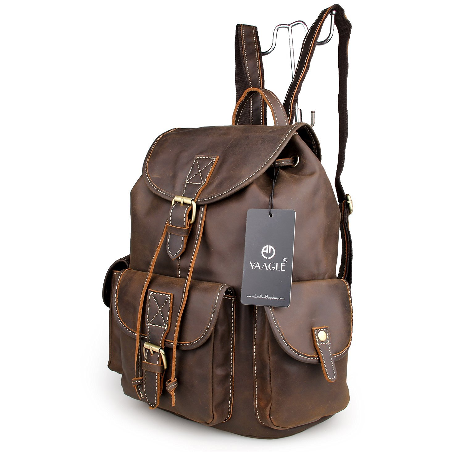 YAAGLE Retro Mens Unisex Genuine Cowhide Leather Casual Daypack Travel Backpack