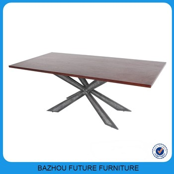 Wooden Dining Table Transparent Resin Filling And Stainless Steel