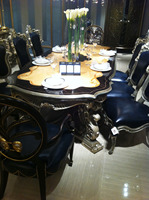 Antique Design French Dining Table with Blue Leather Chair, Luxury Marquetry Veneer Dining Furniture BF11-09112a