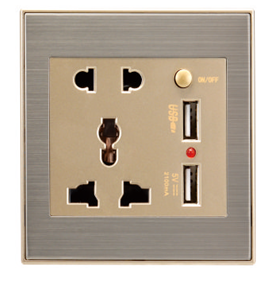 schuko socket outlet multi function USB with switch