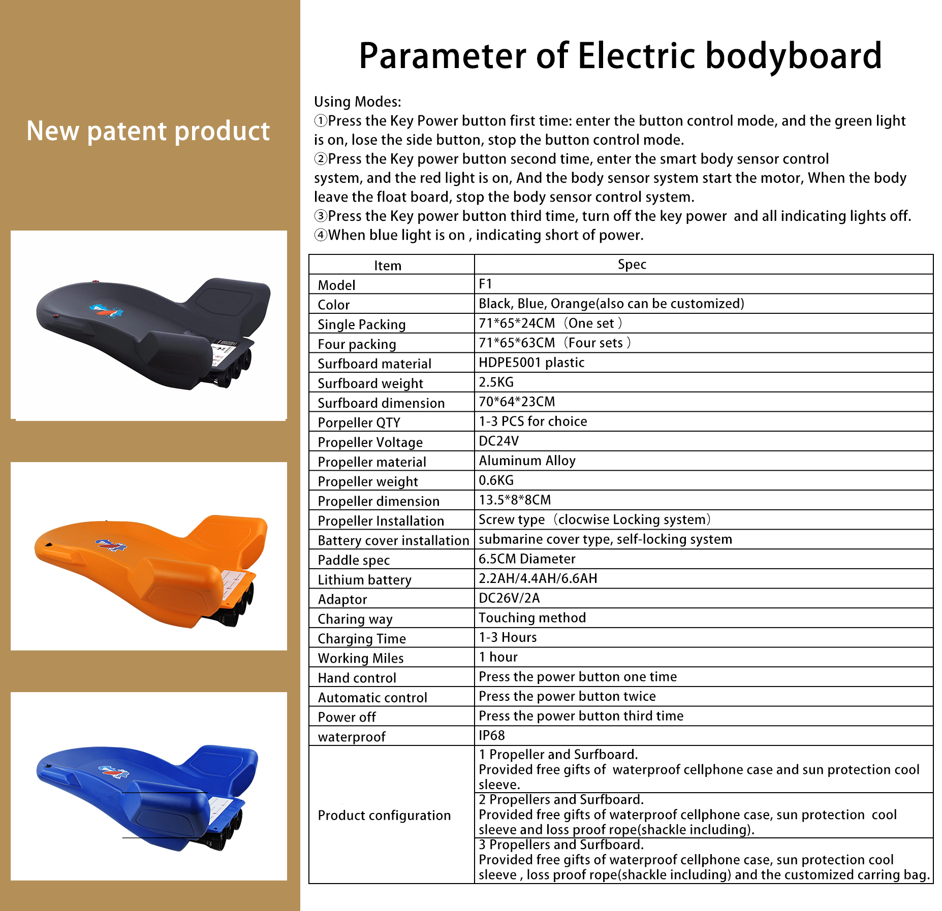 New Arrival Factory Direct Sales Waterproof  Board Water Surfboard Electric Surfboard