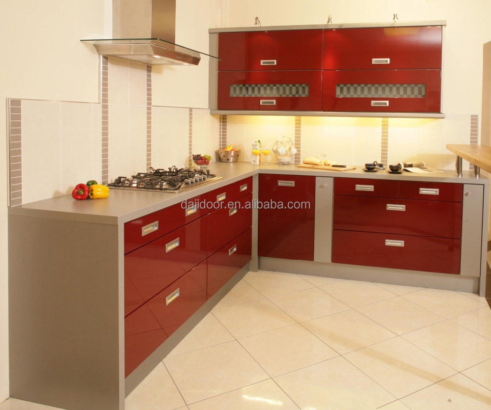 Vermelho Laca Alto Brilho Arm Rio Da Cozinha Moderna Projetos Dj