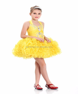 Yellow Halter Neck Flower Girl Short Dress Party Wear Tutu Dress For Young Kids