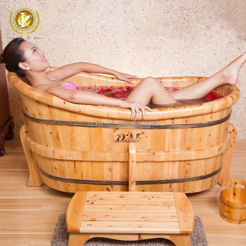 Indoor portable 1 person wooden freestanding hot tub lover massage