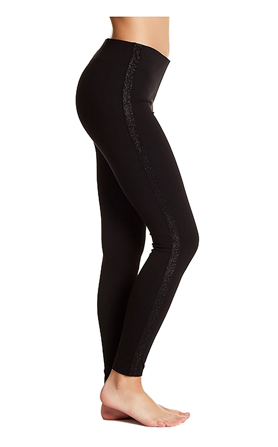 0bd0c88e62c Get Quotations · Hue Metallic Tuxedo Stripe Ponte Leggings Black Size  Medium 8-10