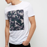 white cotton vintage camo print men fashion t shirt