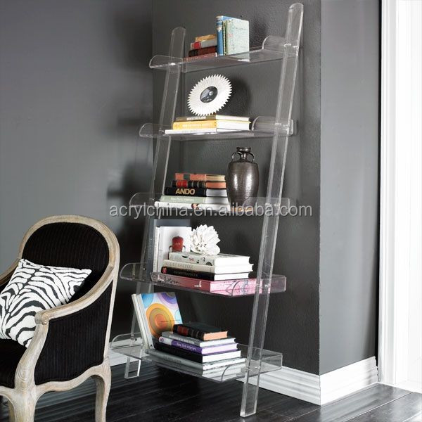 Acrylic Ladder Bookcase With Five Tier For Home Furniture