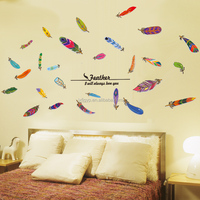 Pop sale colorful art feathers design self-adhesive girls room decor wall stickers online shop