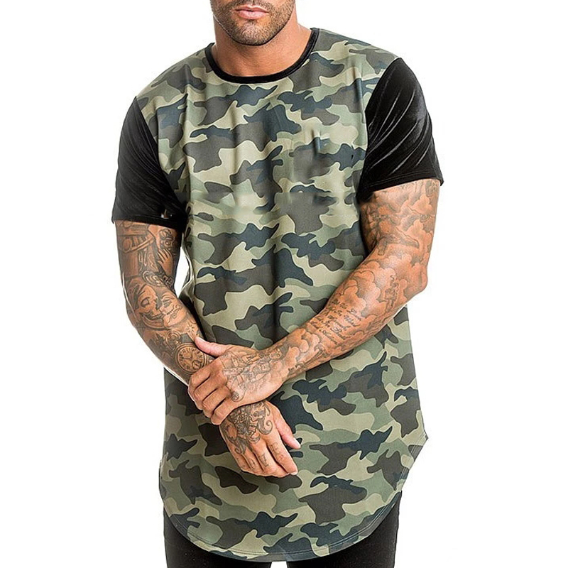 custom camo t shirt pu sleeve t shirt curve hem shirt
