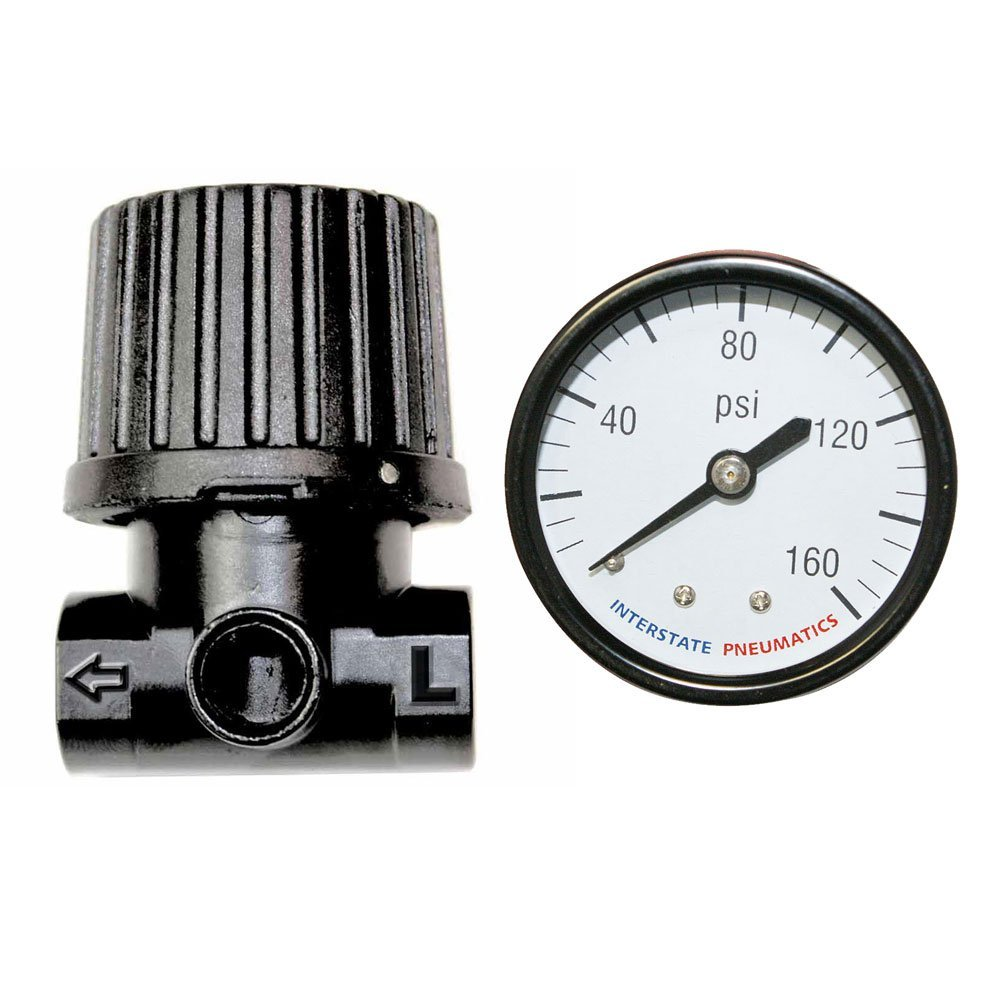 "Interstate Pneumatics WR1120G-D - 1/4"" In-Line Compact - Economy Air Regulator with Gauge"