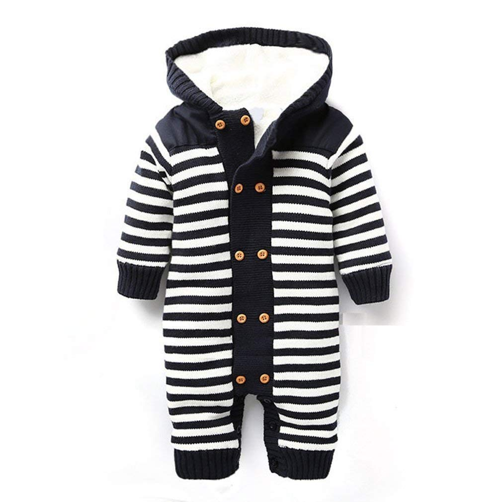 Get Quotations · LUKYCILD Infant Newborn Baby Boy Girl Winter Hooded  knitted Romper 503ce023d