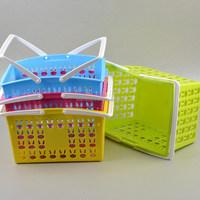 Plastic Hollow Rabbit Pattern Storage Basket With Handle Plastic Storage Basket