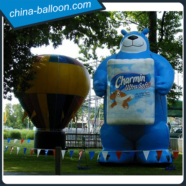 Giant inflatable bear with billboard for advertising / customized inflatable cartoon bear model