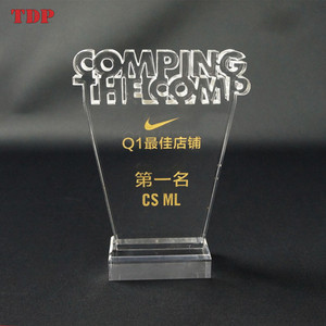 Custom Clear Acrylic trophy base crystal plaques designEngraving Letter Plaque Plexiglass Award for business Souvenir