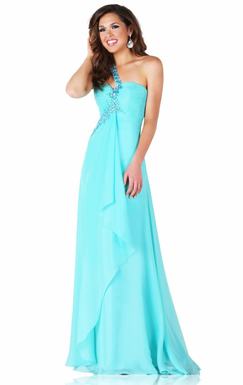 bada544f772 Hot Slae Customized Sweetheart One Shoulder Sleeveless Floor Length Chiffon  Fabric Aqua Evening dress