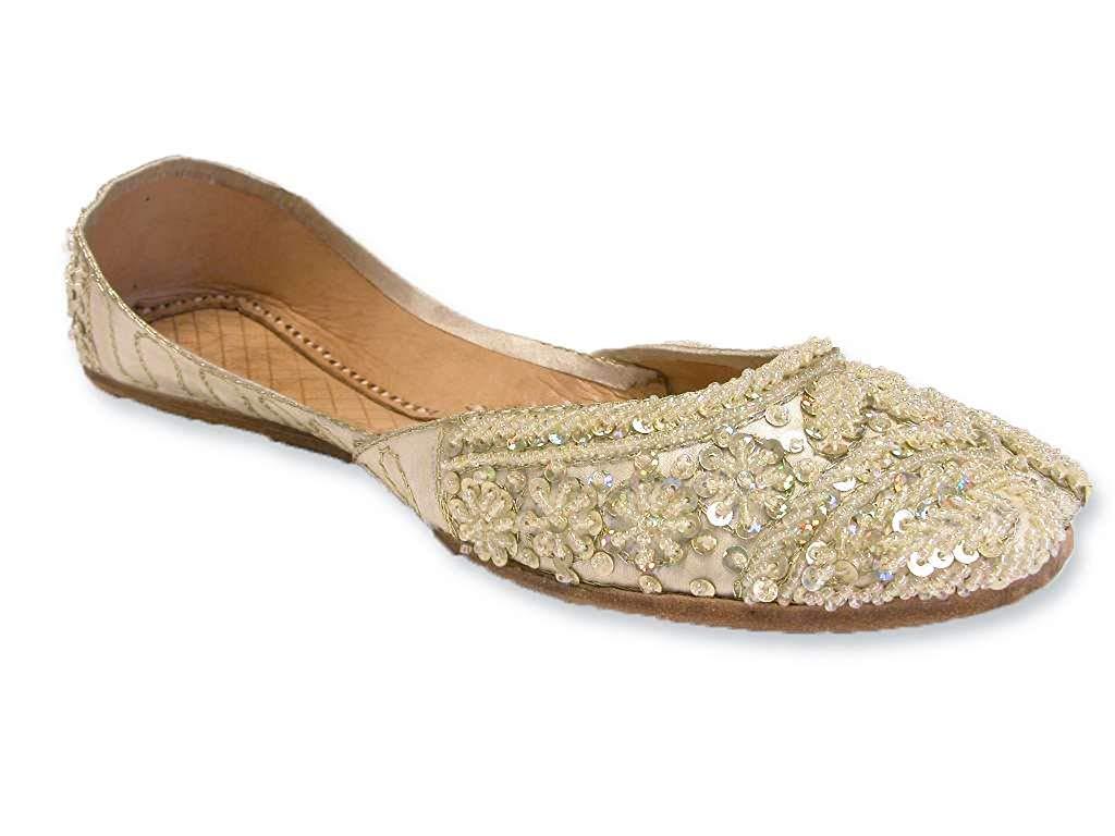 717c3da0d4a Get Quotations · Light Lemon Cream Beaded Wedding Flats Khussa Indian Sari Bridal  Shoes