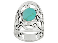 Artisan Collection Of Taxco Oval Turquoise Simulant Sterling Silver Ornate Scroll Ring