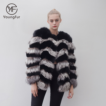 Wholesale Fashion Winter Silver Fox Fur Coat Women Genuine Fox Fur Coat Jacket