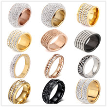 Yiwu Stock Lot Wholesale Jewelry Gold Custom Color Crystal Rings 316L Stainless Steel Jewelry