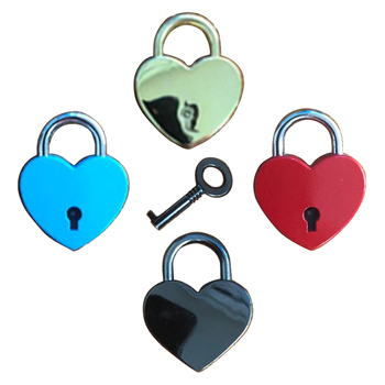 wholesale Vintage Style Mini Padlock Key Lock Heart Shaped for Collectibles Children Kids Novelty Gift Toy -Silver