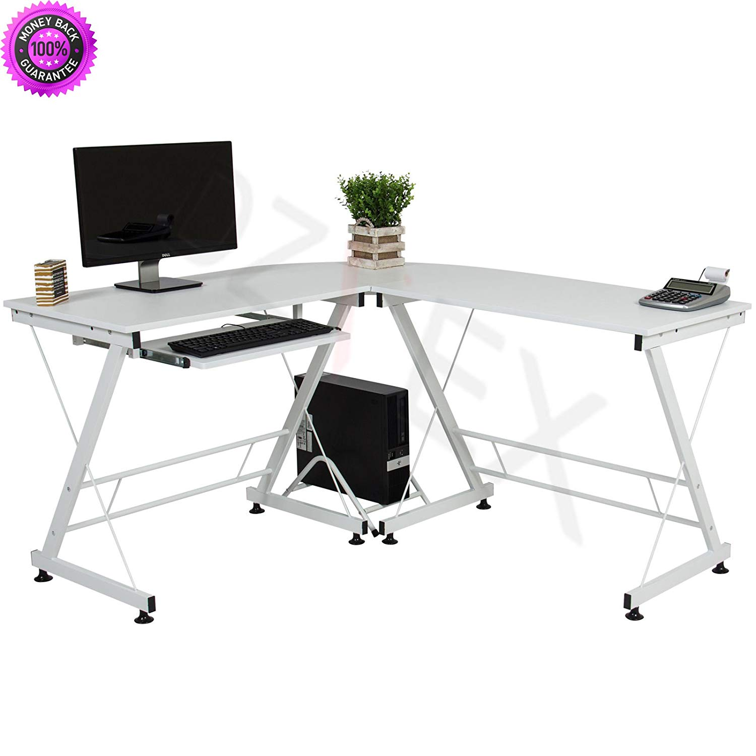DzVeX_Wood L-Shape Corner Computer Desk PC Laptop Table Workstation Home Office -White And home office furniture collections modular home office furniture office furniture office furniture