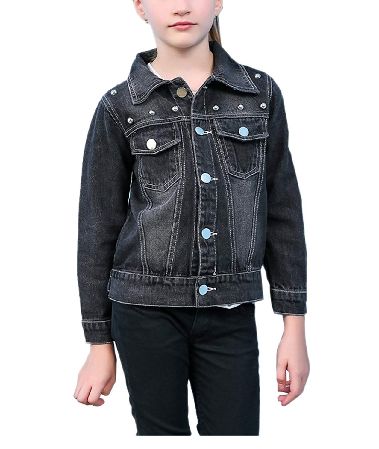 87571c0a8b7 Get Quotations · YUFAN Girls Punk Rivets Studded Beaded Black Denim Jean  Jacket Girls Black Trucker Jacket