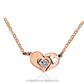Chengfen Double Heart Necklace Rose Gold Collarbone Chain Jewelry