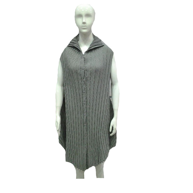 Unique design dongguan factory wholesale alibaba grey Japan style sleeveless pleated dress