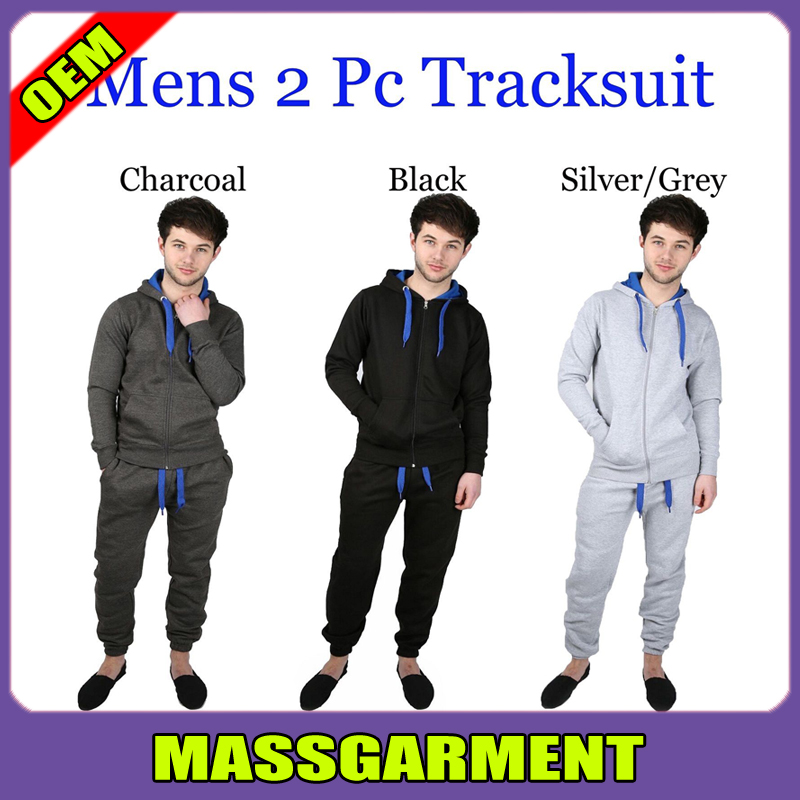 Mens 2 Pc Zipped Plain Full Hooded Sports Tracksuit Hoody & Trouser