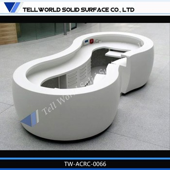 high quality spa counter/ artificial marble curved reception desks/round hotel front counter