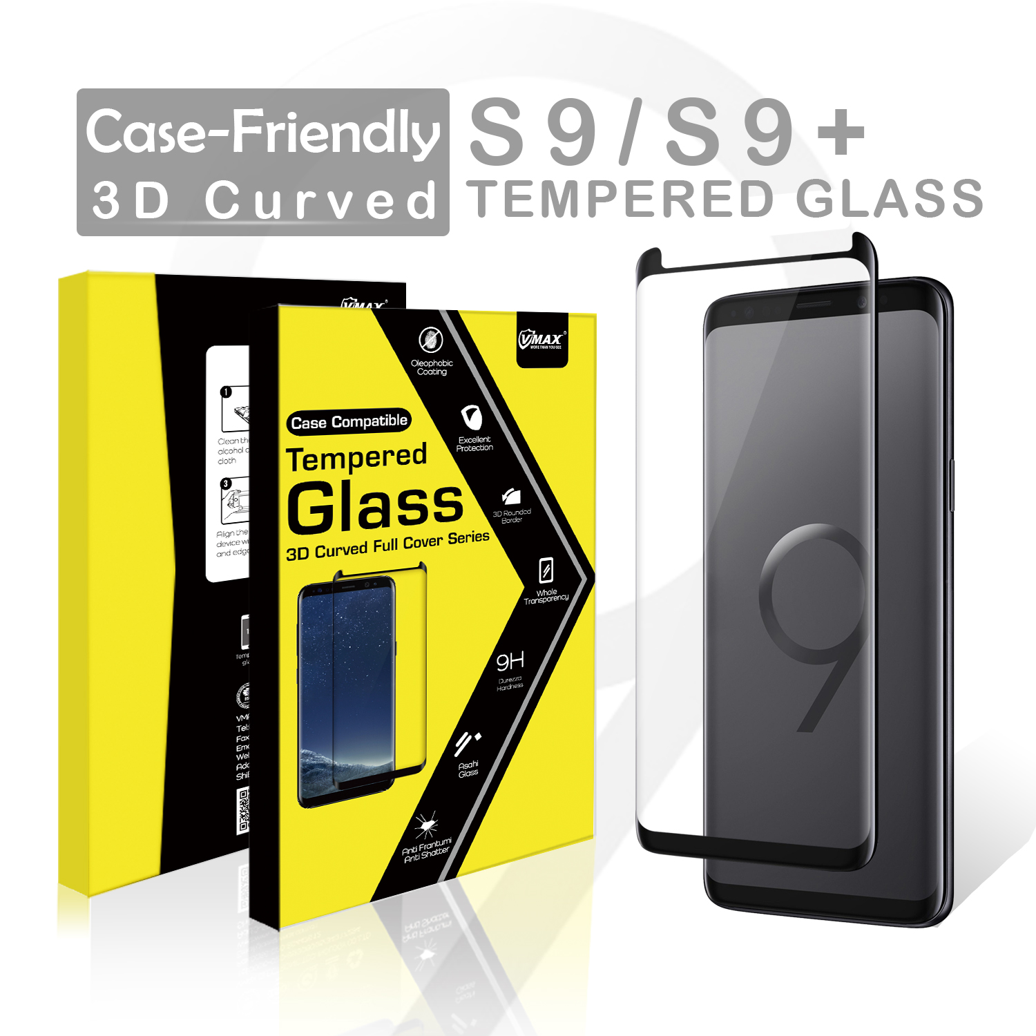 Full Glue Case Friendly 9h Tempered Glass Touch Sensitive Screen Protector  For Samsung S9 Screen Protector - Buy Screen Protector,9h Tempered