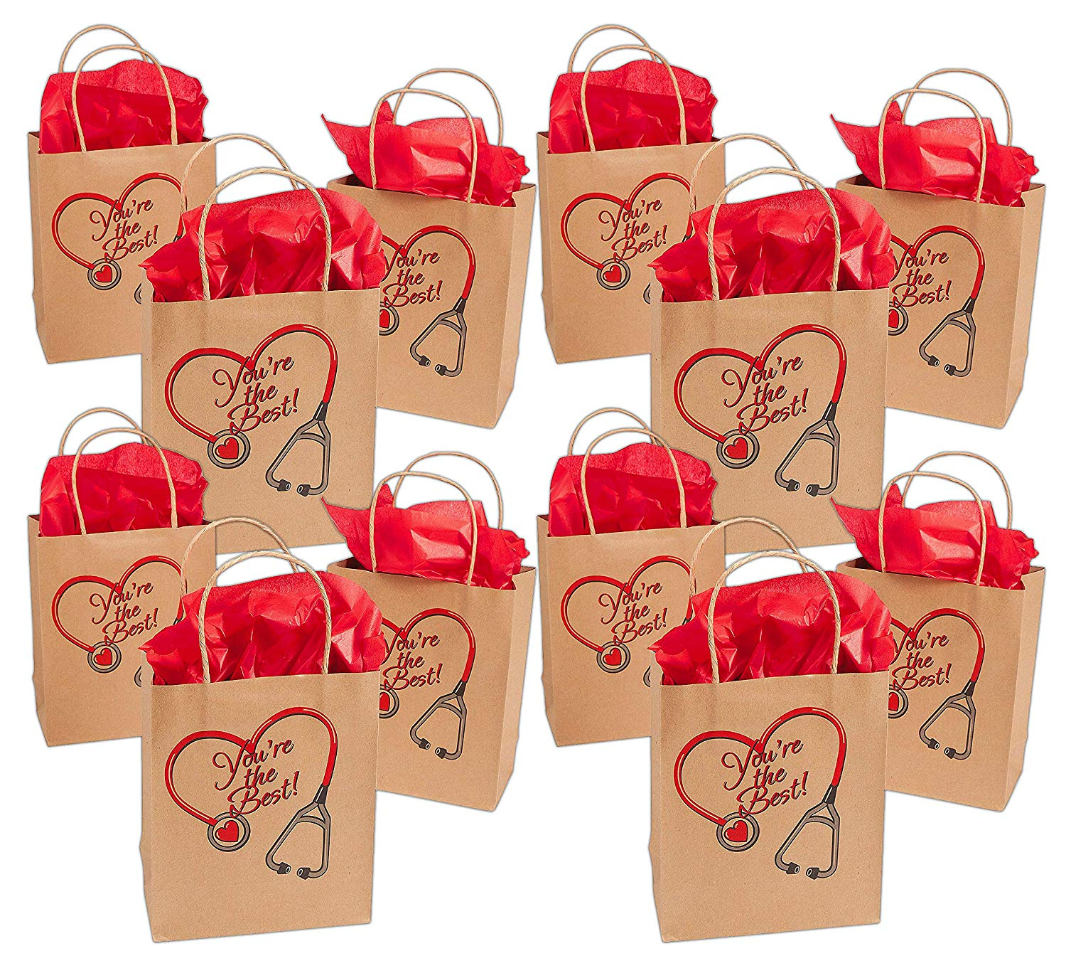 Nurse Kraft Paper Gift Bags Bulk Pack Of 12 You Re The Best