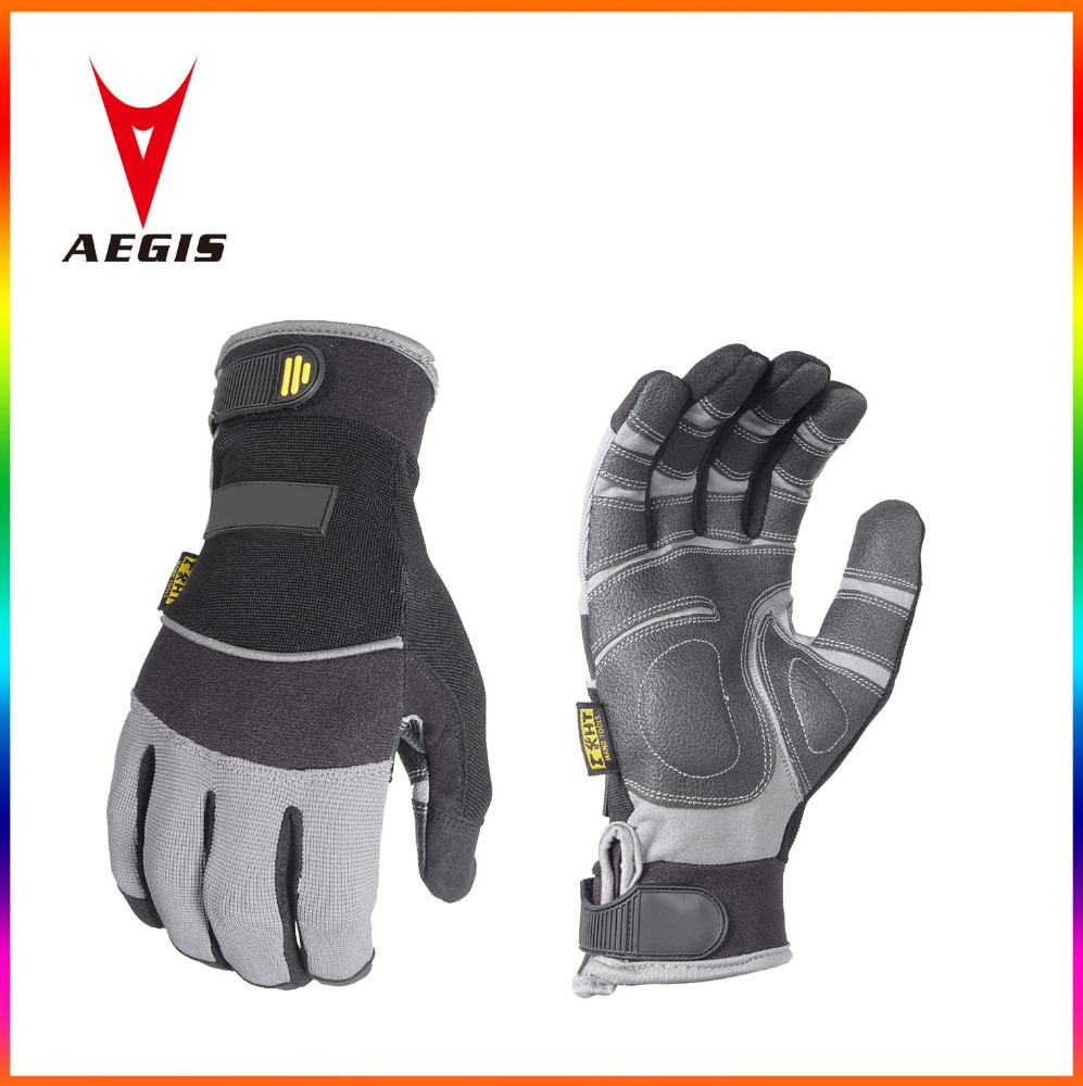 Heavy duty PVC padded palm gloves abrasion safety work gloves Oil resistant hand tool gloves