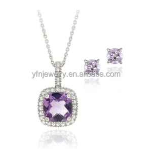 Hot Wholesale 925 Silver Amethyst Diamond Square Fancy Necklace Sets