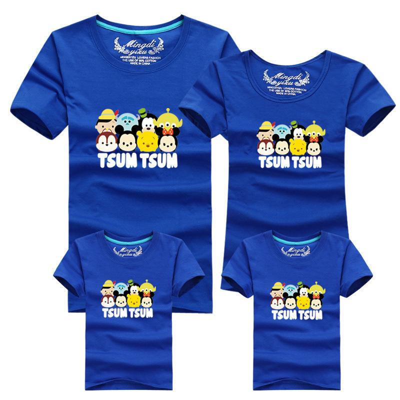 Лето семья встроенное короткая рукавами футболки семья соответствующие наряды хлопок воротник-хомут футболки